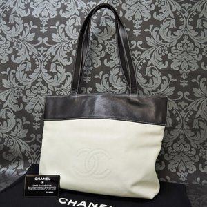 Chanel White and Black Leather bag